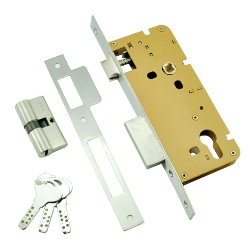 85mm SS Mortise Lock with Euro Profile or D/C Keyhole